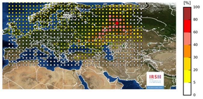 rutenio 106 en Europa
